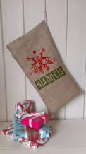 Personalized Two reindeers Father Christmas Xmas Santa Sack / Stocking Bag Jute Hessian